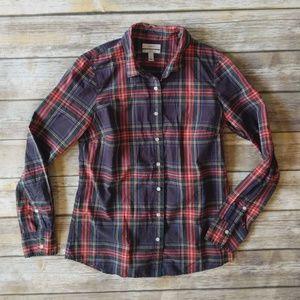 J Crew Tartan Plaid button down blouse
